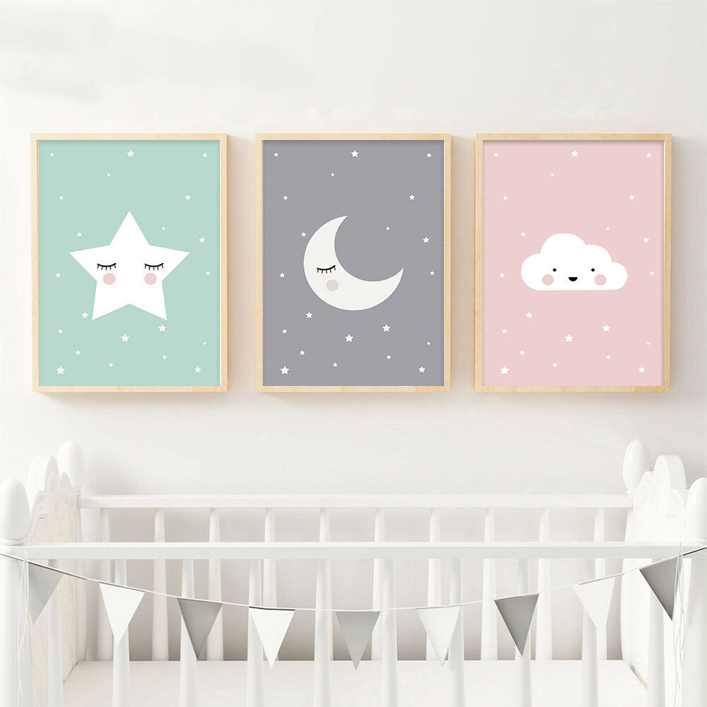 Moon Star Nursery Quote Canvas Nordic Poster Cartoon Art