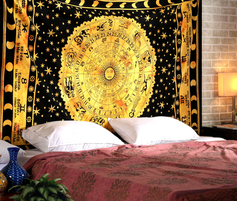 Celestial Sun Moon Tapestry Indian Astrology Hippy Wall Hanging ...