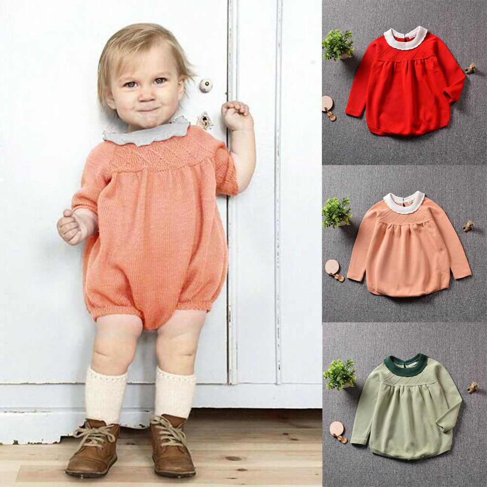 5f2710f1fb9 Details about Toddler Baby Girls Autumn Winter Long Sleeve Knitting Romper  Jumpsuit Sweater