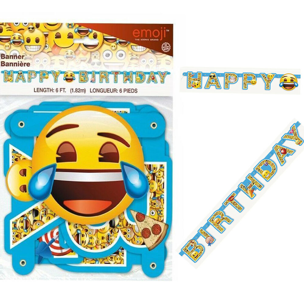 Details About 6FT Emoji Happy Birthday Banner Jointed Letters Decoration Smiley Face