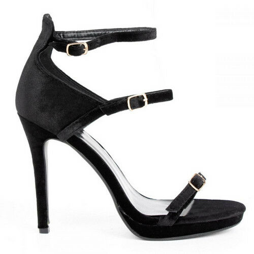 80f54ab7fffd Details about Chic Ladies Double Ankle Strap High Heels - Black Velvet - UK  Sizes 3 - 8