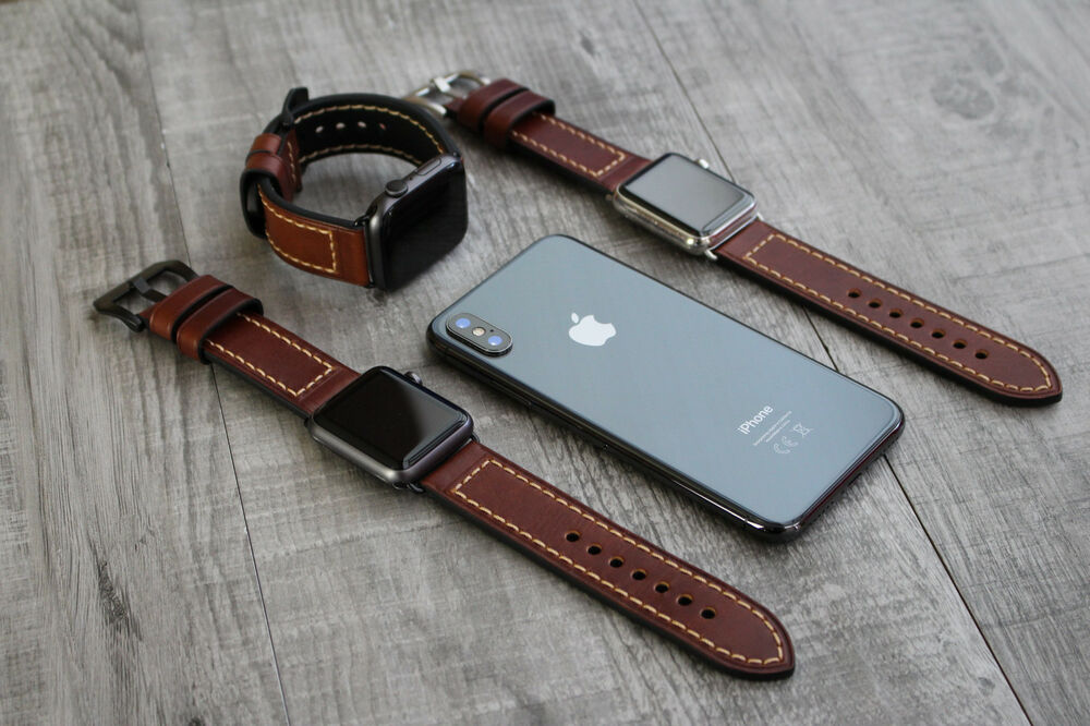 Thick Brown Leather Watch Strap Band for Apple Watch