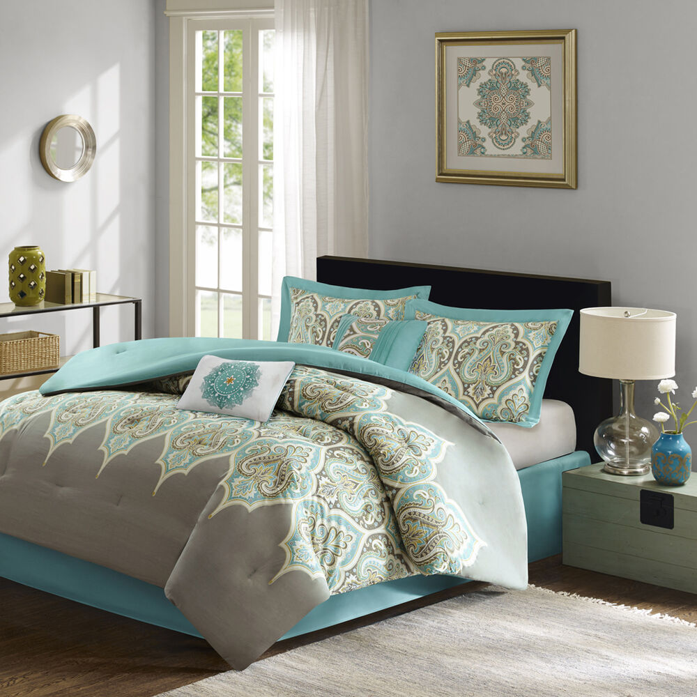 Deluxe Cotton Teal Grey Green Paisley Comforter 6 Pcs King