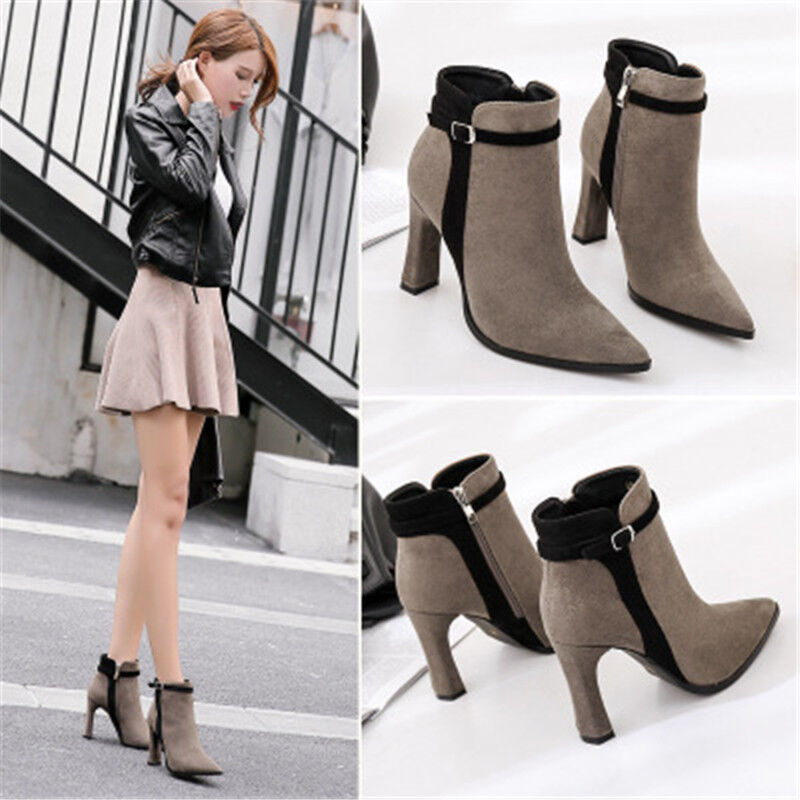 c9b54feb4d1 Details about Winter Fashion Women Ankle Boots Suede Solid Color High Heels  Martin Boots