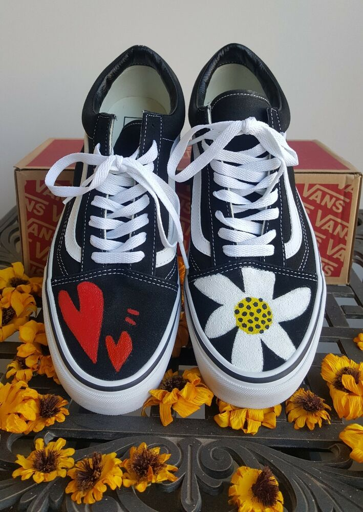 Details about Authentic Gdragon Vans Old Skool Black Limited hand painted  shoes Mens BigBang ffe881e59