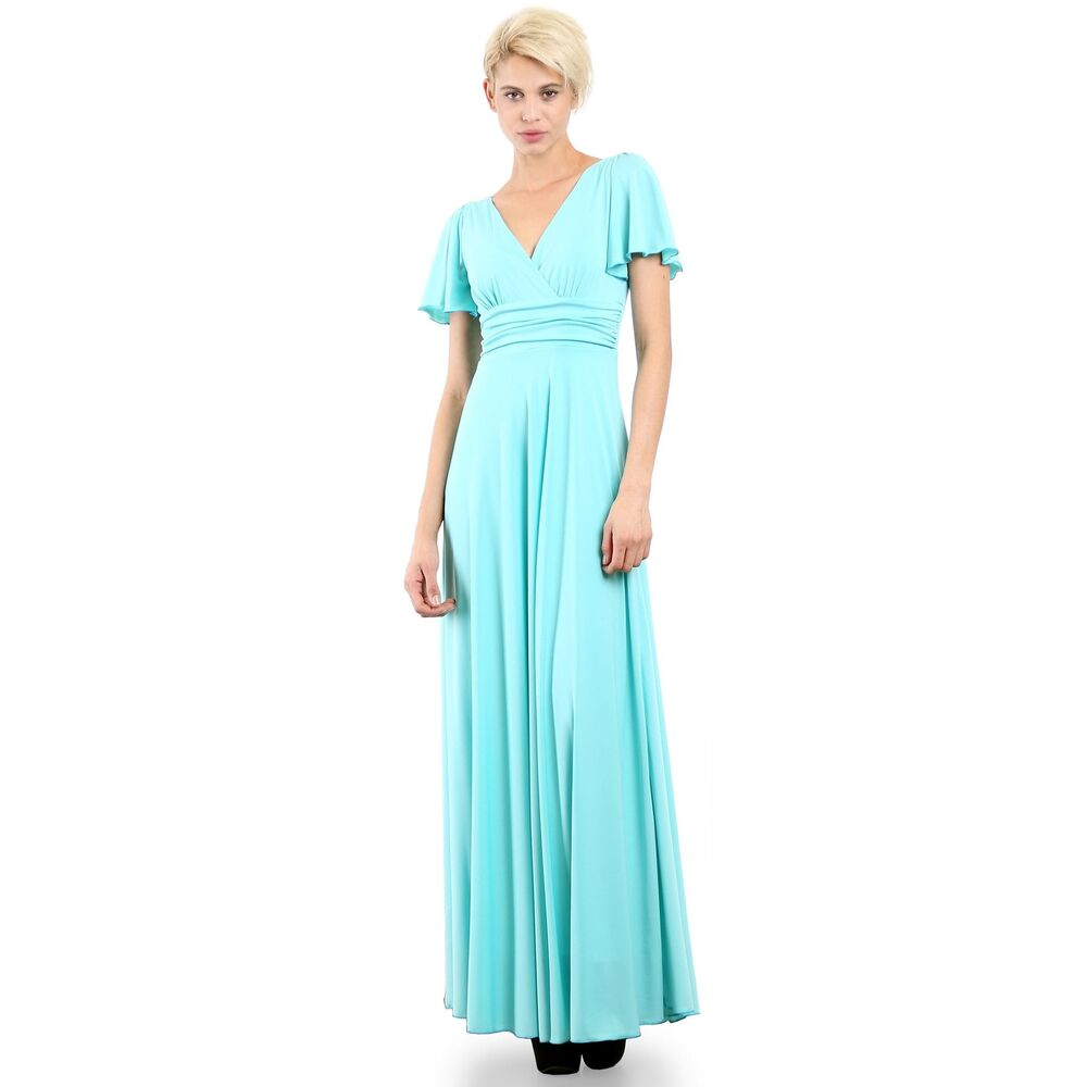 5ad0ea993b Details about Evanese Women s Plus Size Evening Formal Long Dress Gown with Short  Sleeves