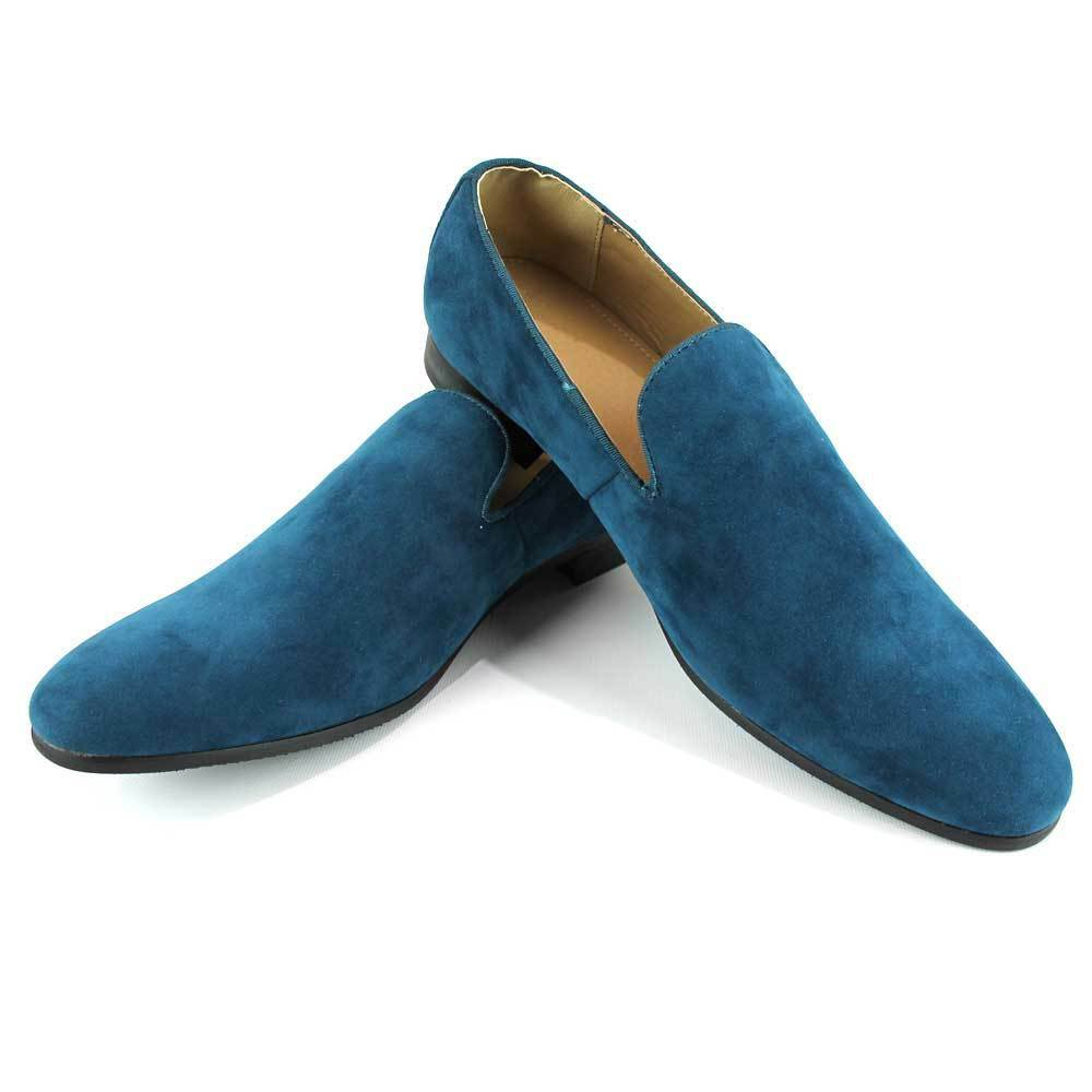 f24a052c17a Details about Teal Slip On Suede Loafers Handmade Men s Dress Shoes Modern  Formal By AZAR MAN