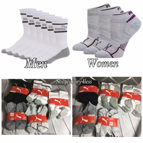 New PUMA 6 Pair: Crew Sock CUSHIONED socks for MEN, Lowcut socks for WOMEN