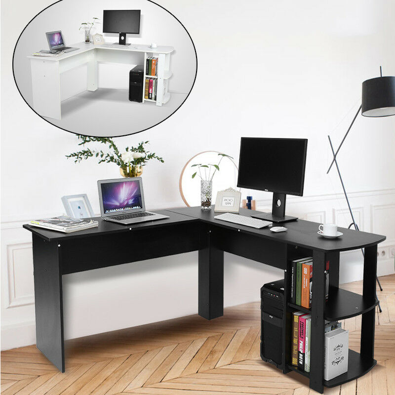computertisch pc tisch schreibtisch arbeitstisch eckschreibtisch mit regal cr 05 ebay. Black Bedroom Furniture Sets. Home Design Ideas