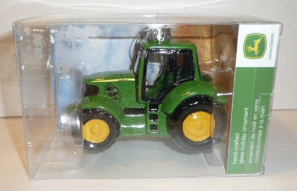 John Deere Hand-Crafted GLASS Holiday Ornament Christmas Farm ...