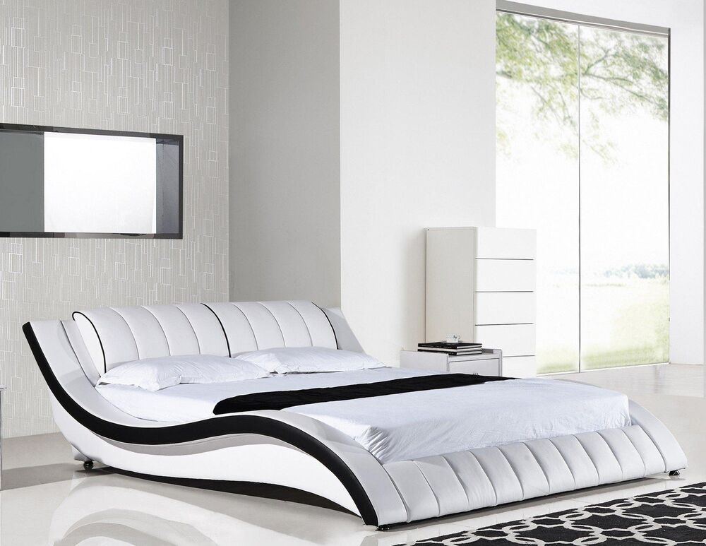 american eagle b d030 ck modern white california king platform bed ebay. Black Bedroom Furniture Sets. Home Design Ideas