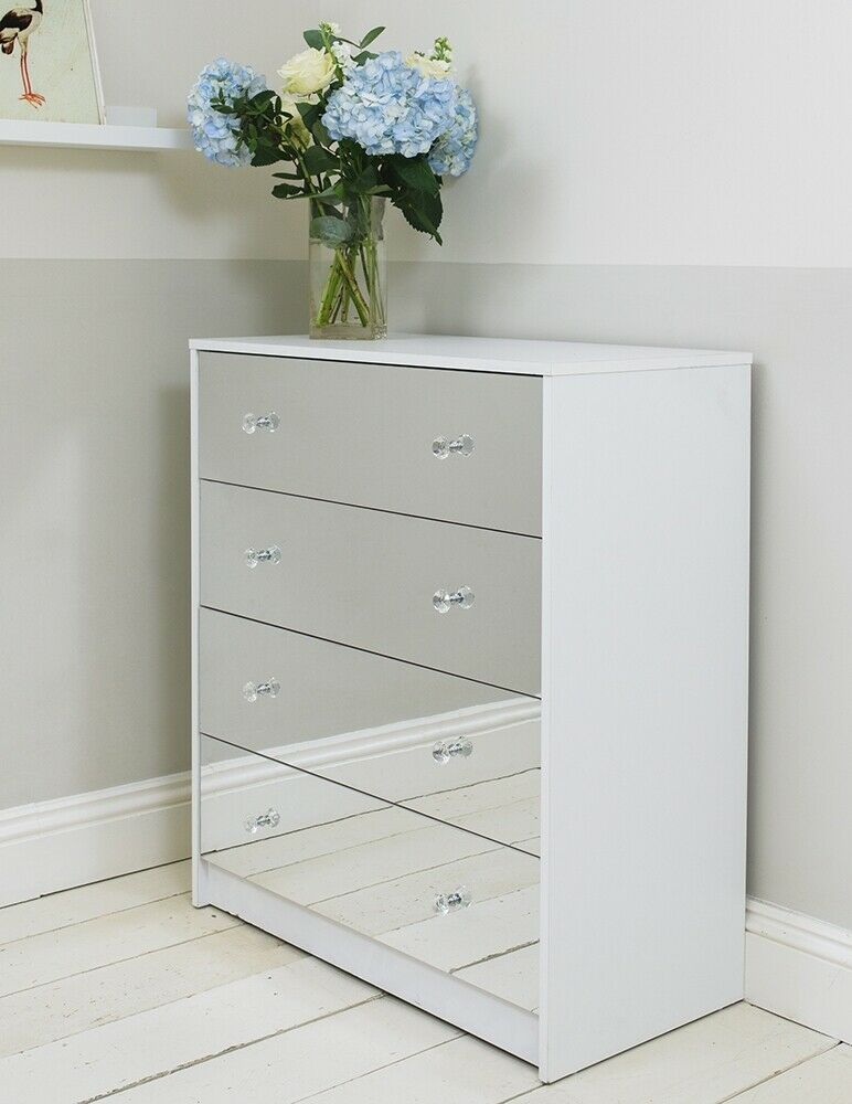 Four Drawer White Mirrored Chest Of Drawers Cabinet