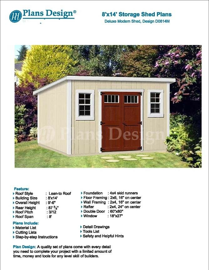 8\' x 14\' Deluxe Storage Shed Plans / Building Blueprints, Modern ...