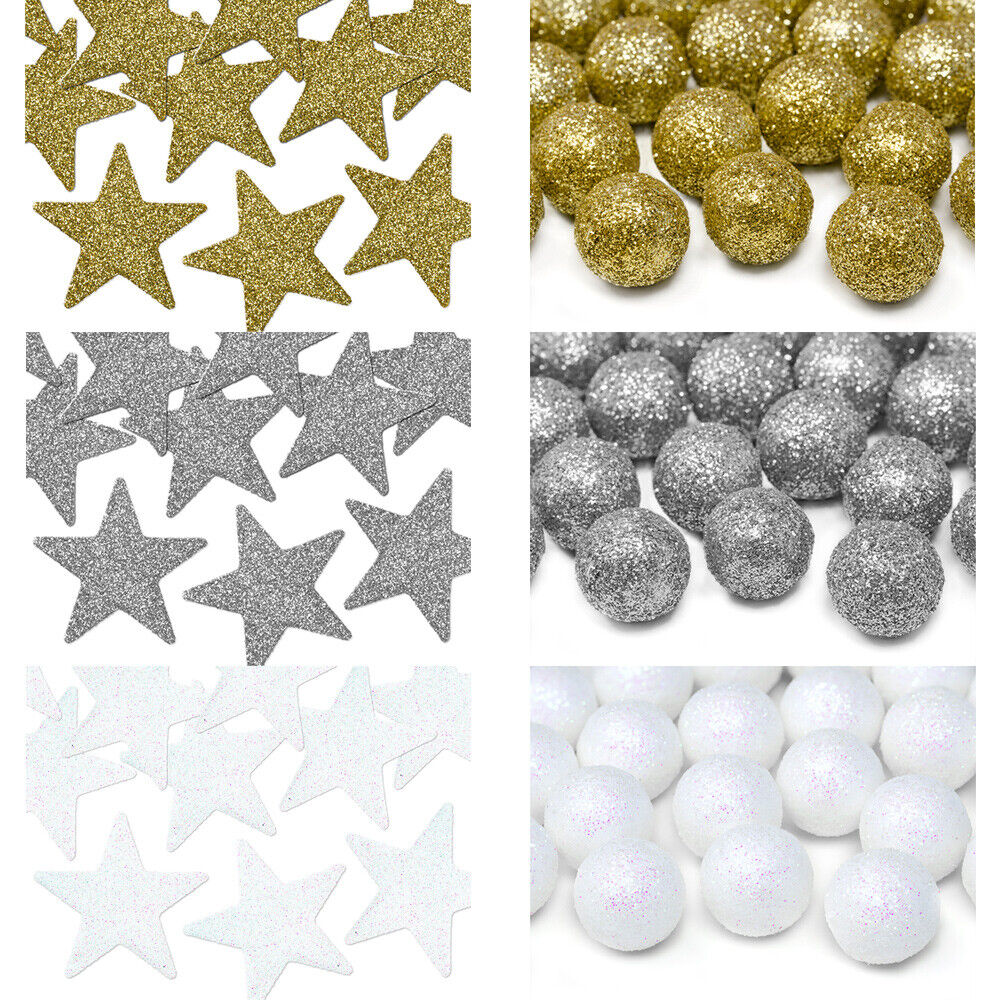 glitzer deko stern kugel weihnachten winter advent hochzeit gold silber wei ebay. Black Bedroom Furniture Sets. Home Design Ideas