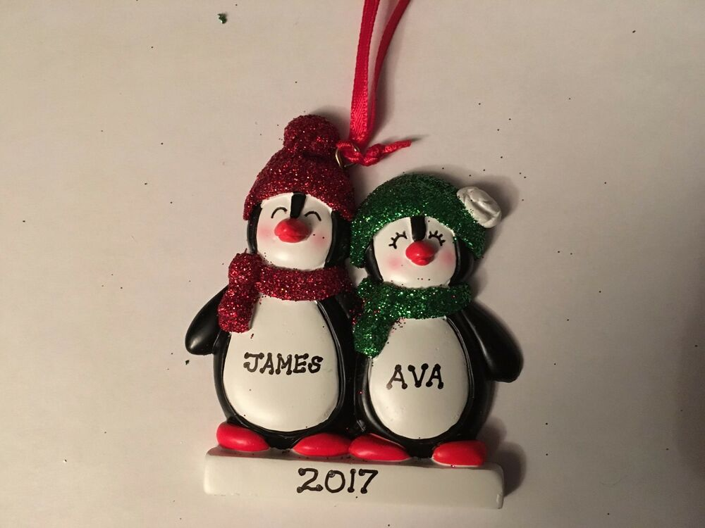 Penguin Couple Family Of Two Personalized Christmas Tree