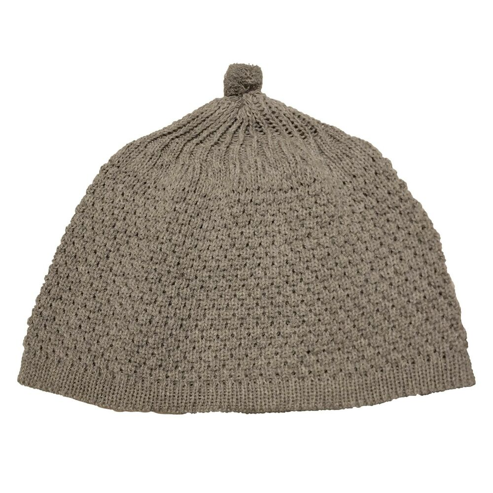 Details about TheKufi Gray Warm Knit Weave Stretchy Beanie Hat OneSize Cap  - Ball on Top d0873fd1d0c