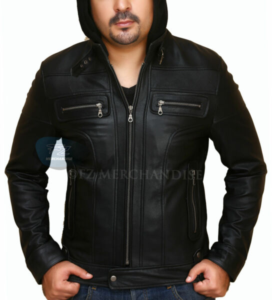 Mens Hooded Leather Jacket with Detachable Hood