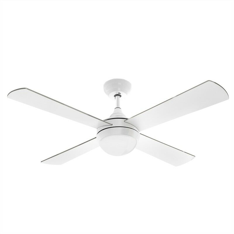 Arlec 120cm White Columbus Ceiling Fan With Led Light And Remote