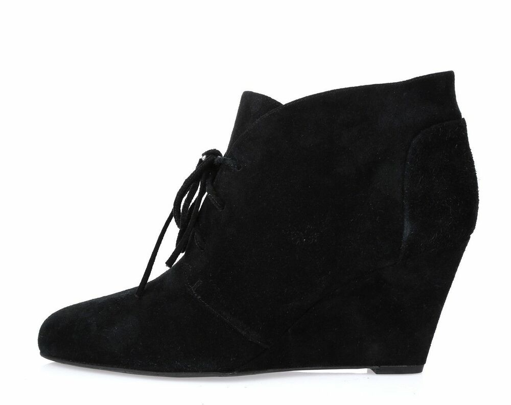 41870f19aebcce VIA SPIGA Black Suede Womens Lace Up Wedge Ankle Boots Size 7 M 17117781814