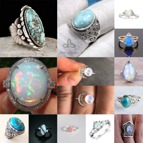 925 Silver Ring Men Woman Moonstone Turquoise Fire Opal Retro Wedding Size 6-10