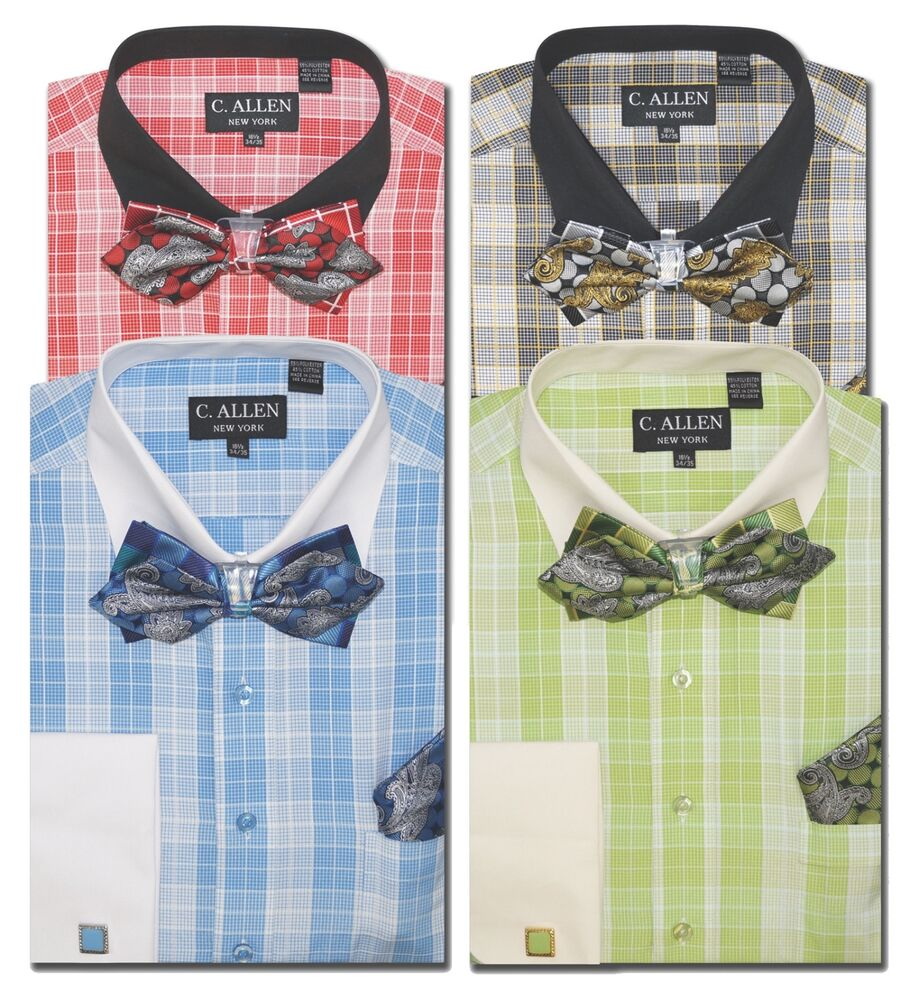 C Allen Mens Dress Shirts Bow Tie Combo French Cuff Multi Blue Red