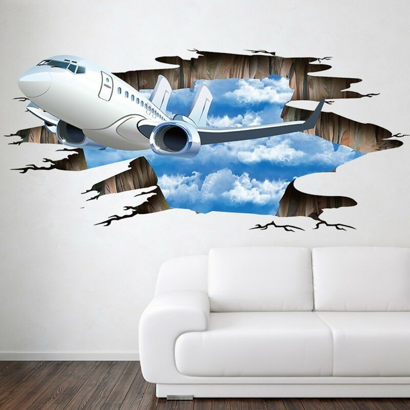 wall stickers plane 3d decal wallpaper poster decor floor living