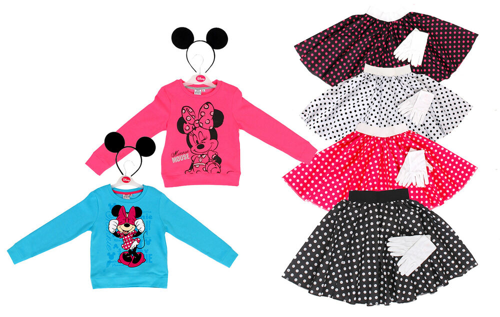 disney minnie maus sweatshirt mickey mouse ohren polka dot. Black Bedroom Furniture Sets. Home Design Ideas