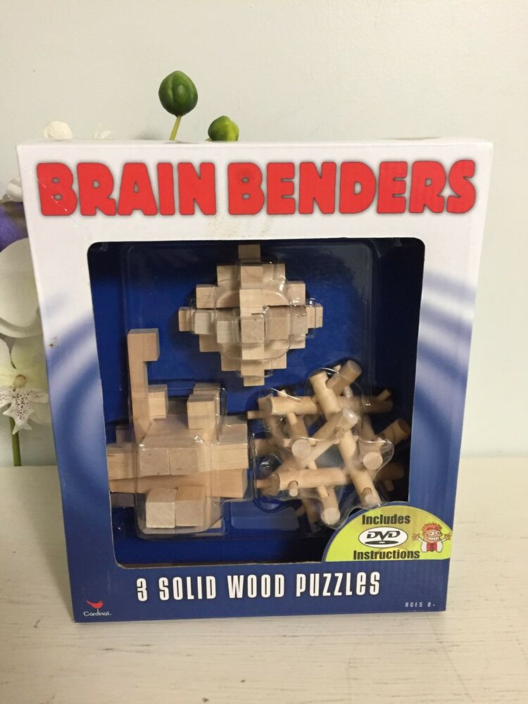 3 Solid Wood Brain Benders Puzzles Includes Dvd Intructions Nip Ebay