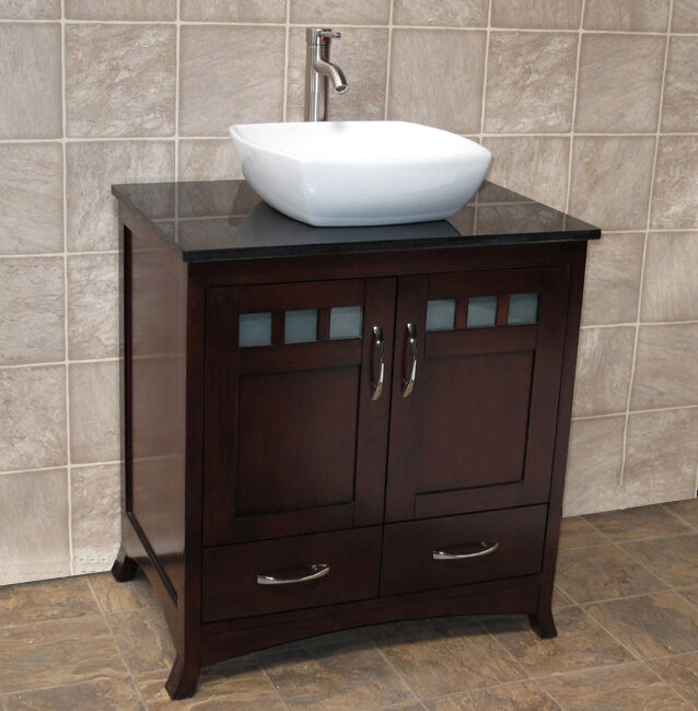 30 Bathroom Vanity 30 Inch Cabinet Black Granite Top Vessel Sink T9