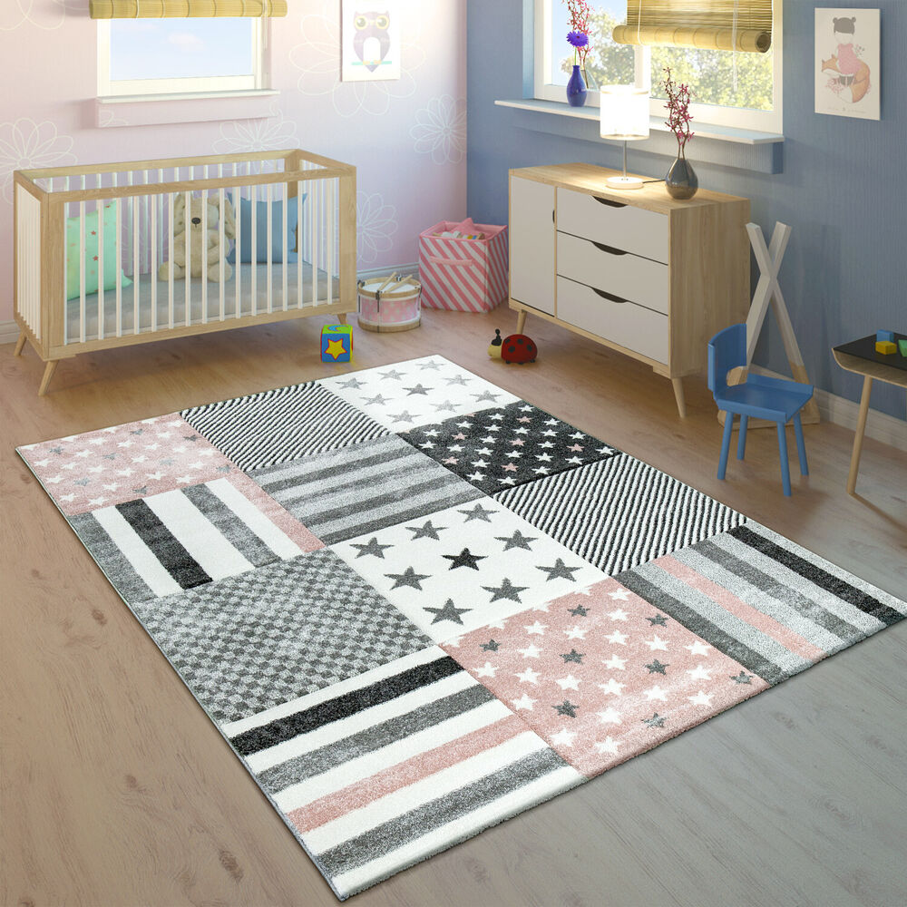 kinderteppich kinderzimmer konturenschnitt stern muster rosa grau pastellfarben ebay. Black Bedroom Furniture Sets. Home Design Ideas