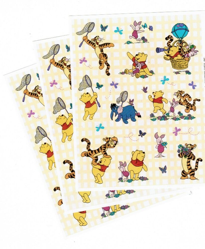3 Sheets Disney Winnie the POOH Scrapbook Stickers! Spring ...