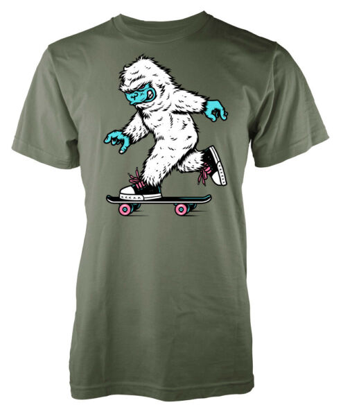 Snow Boarding Yeti abominable snowman monster adult t-shirt
