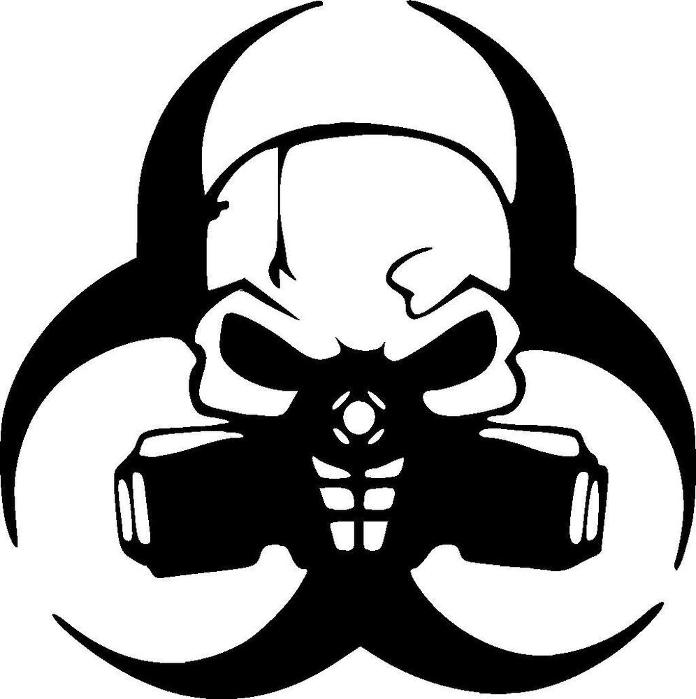 Biohazard Skull With Gas Mask Vinyl Decal Sticker Ebay