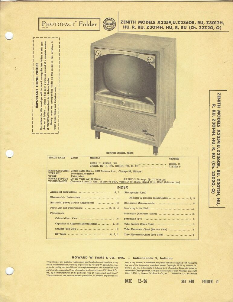Original 1956 Zenith Tv X2359 Service Manual Photofact Schematic. Original 1956 Zenith Tv X2359 Service Manual Photofact Schematic 173 Ebay. Wiring. Zenith Tube Radio Schematics 39a At Scoala.co