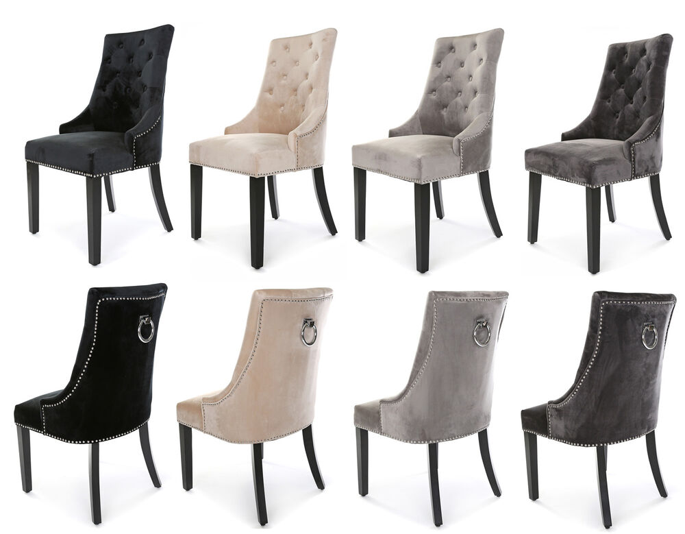 New Heston Velvet Dining Chair Stud And Knocker Taupe Black Light Or Deep Grey