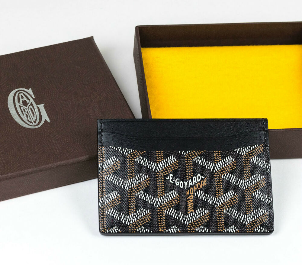 100 authentic new goyard paris sulpice cardholder card holder black tan ebay. Black Bedroom Furniture Sets. Home Design Ideas