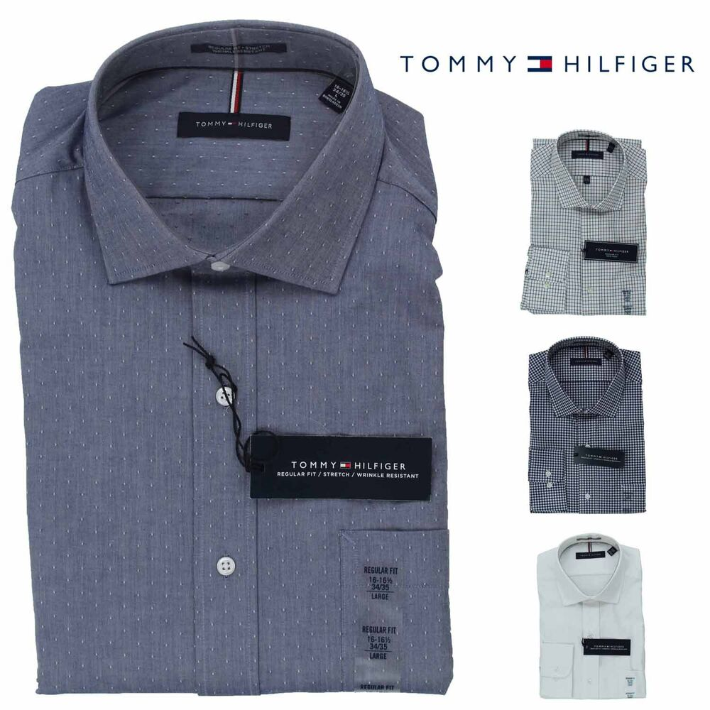 6fc29c24 Details about Tommy Hilfiger Mens Long Sleeve Regular Fit Dress Shirt