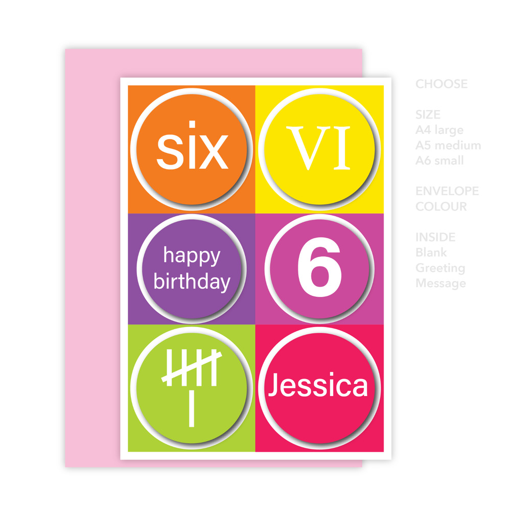 Details About Personalised 6th Happy Birthday Card For Girl Edit Name Colourful 6 Numbers