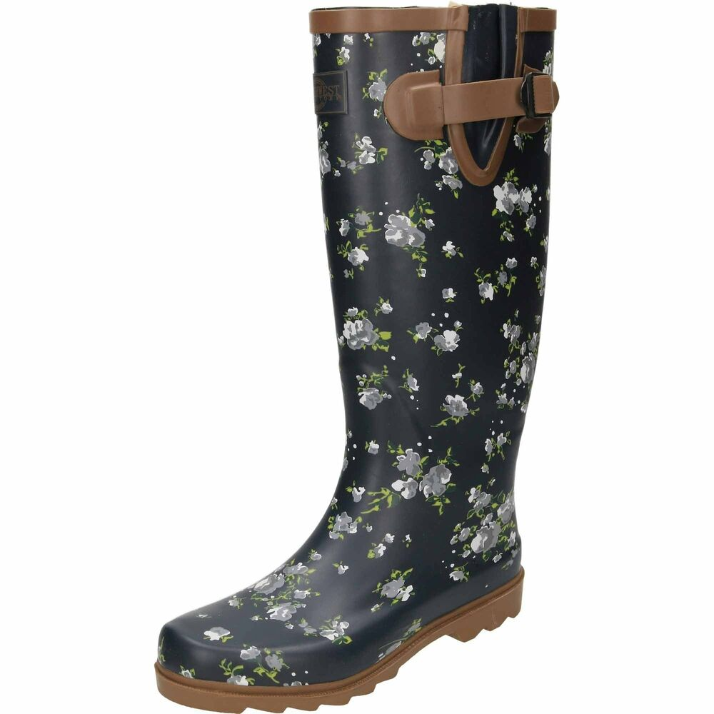 Rubber Wellington Knee Boots Floral Print Navy Blue Festival Tall Shoes