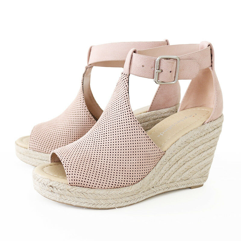 77b8f547ee7 Details about Ankle Strap Perforated Faux Suede Espadrille Wedge Platform  Sandal Mauve