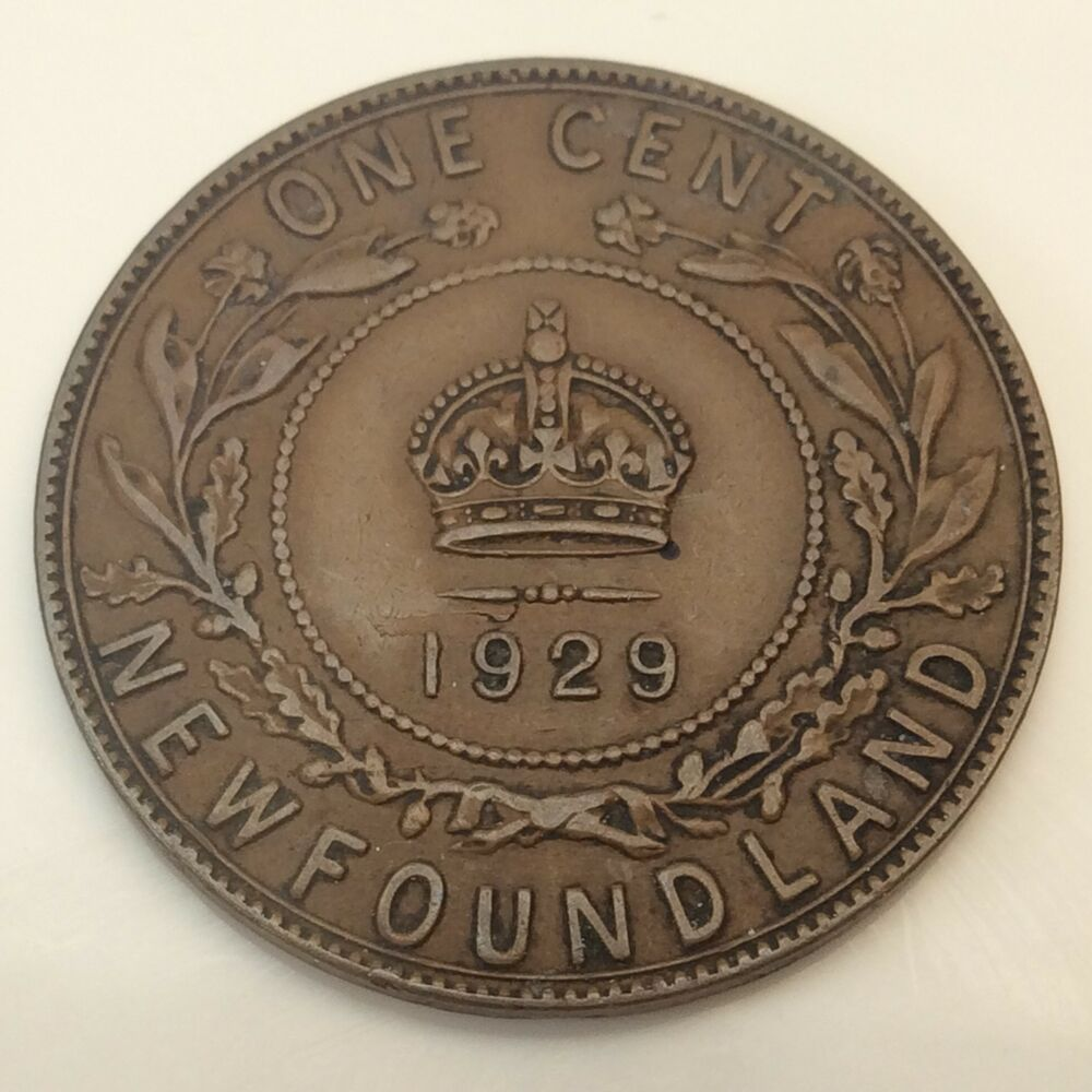 1929 Canada Newfoundland Penny One 1 Cent Circulated Canadian Coin D619 Ebay