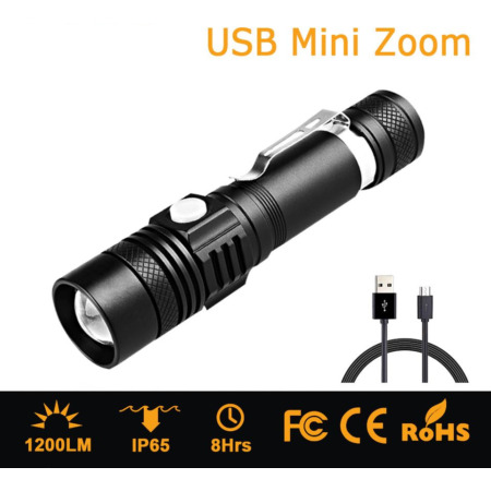img-Military T6 Waterproof Zoom LED Tactical 1000 Lumen Rechargeable USB Flashlight