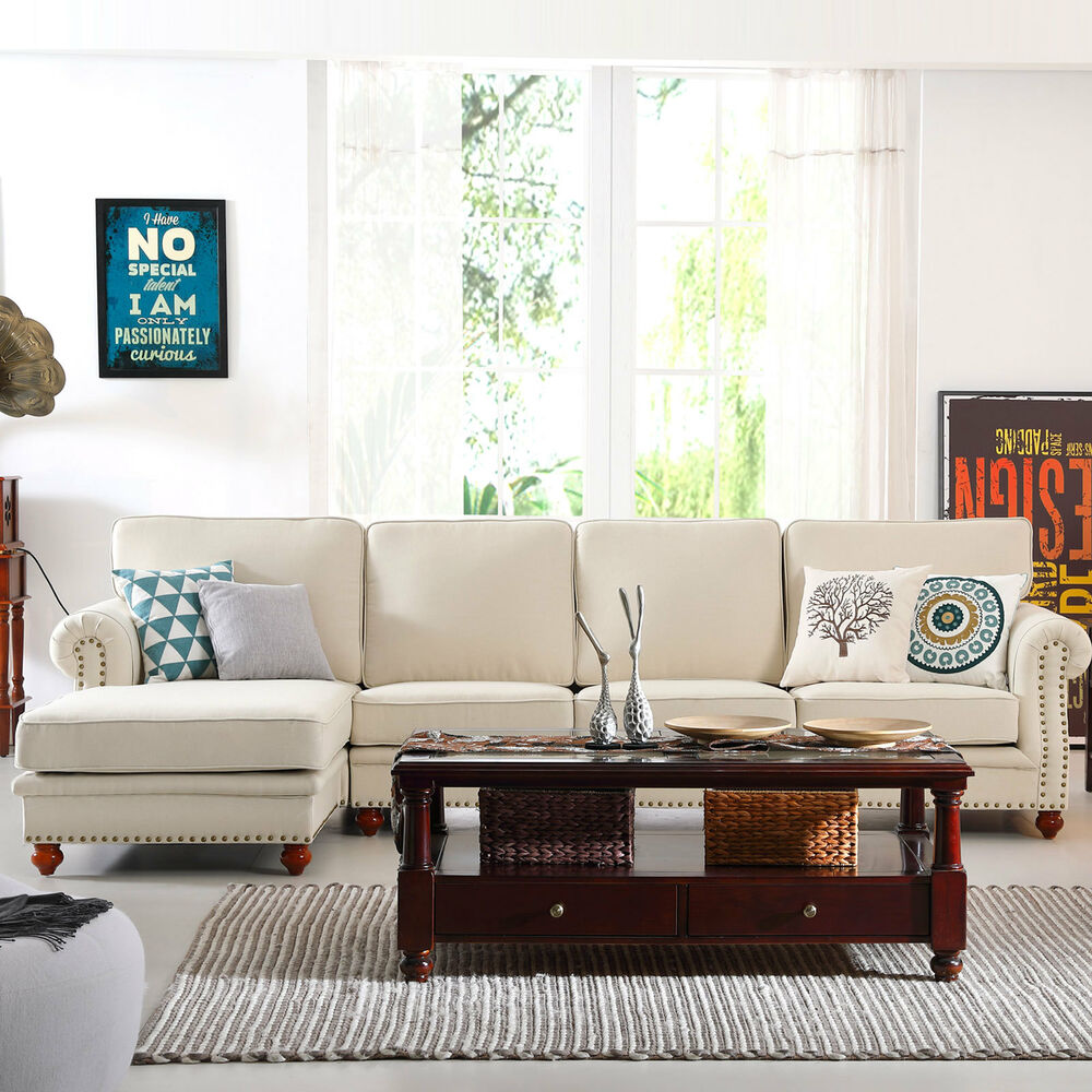 Morden Right Chaise Sofa Corner Sofa Couch Lounge Sectional Sofa Set ...