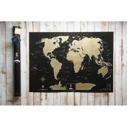 Kyпить Deluxe Map Black Scratch the World - Gift Tube, Personal Poster, Scratch на еВаy.соm