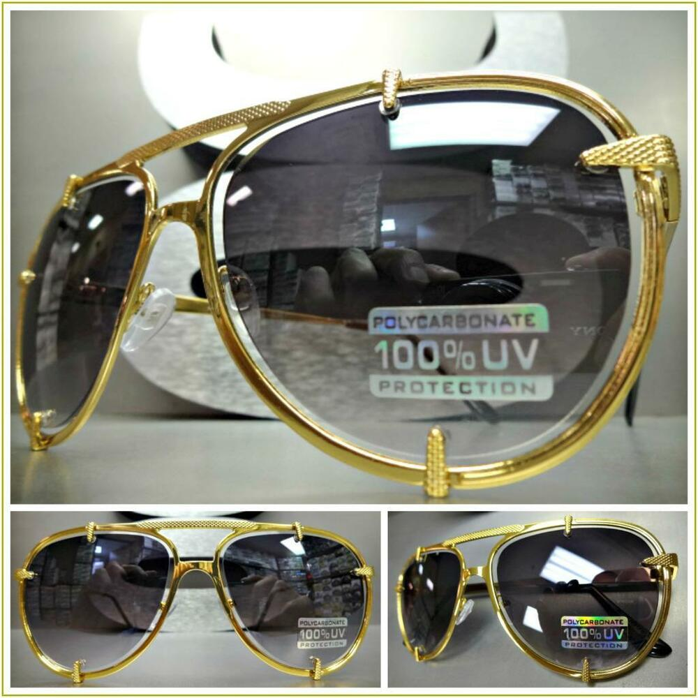480a70e3fbd Details about Men Women CLASSIC VINTAGE RETRO Style SUN GLASSES Large Gold  Metal Fashion Frame