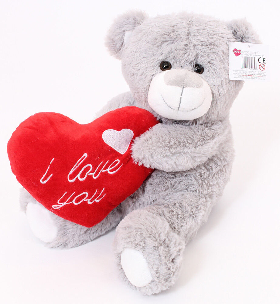 "16"" LARGE GREY TEDDY BEAR VALENTINES DAY I LOVE YOU PLUSH"