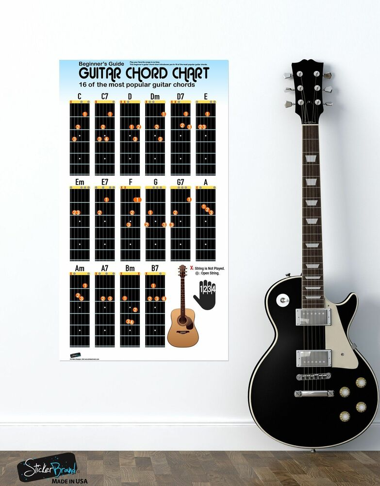 Guitar Chord Chart Poster 16 Popular Chords Guide Perfect For
