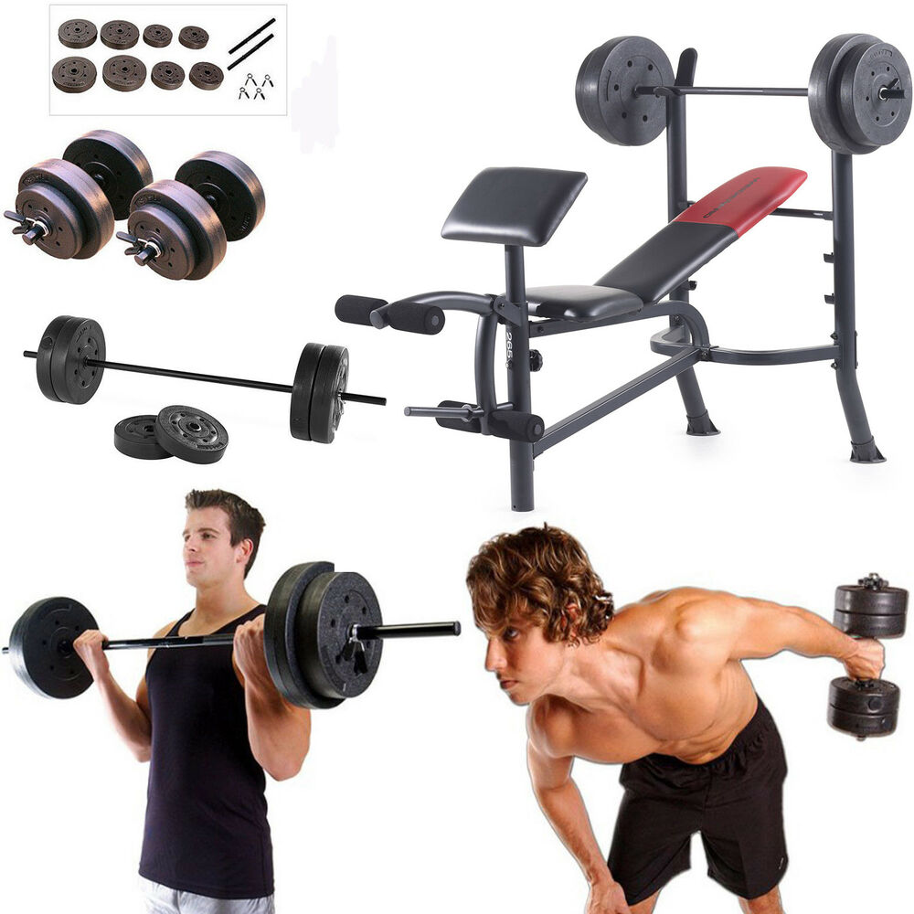 Best Home Dumbbell Set: Weight Bench With Weights Set 120 Lb Bar Press Dumbell Set