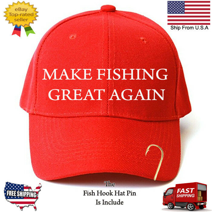 Details about MAKE FISHING GREAT AGAIN TRUMP PARODY FUNNY EMBROIDERED RED  HAT WITH HOOK PIN e305a00b678