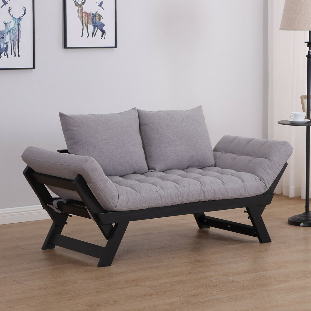 Homcom Sofa Bed Chaise Lounge Foldable Wood Pillow Linen